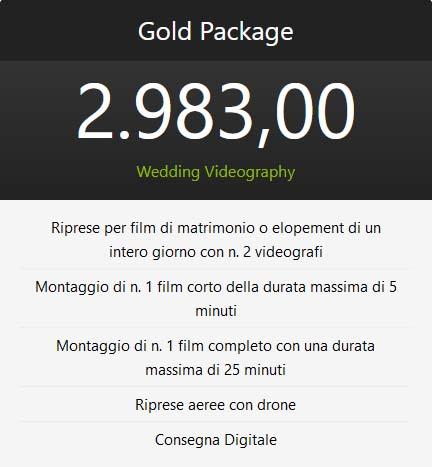pacchetto oro wedding